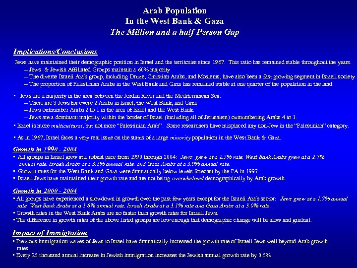Arab Population In the West Bank & Gaza The Million and a half Person