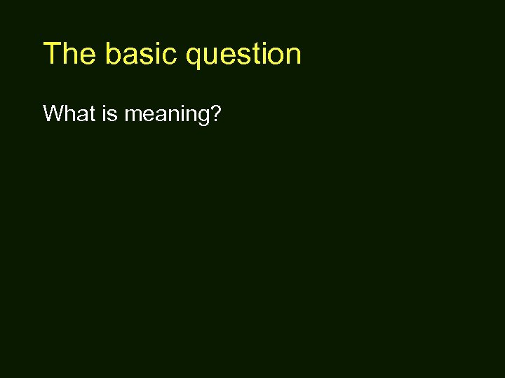 The basic question What is meaning?