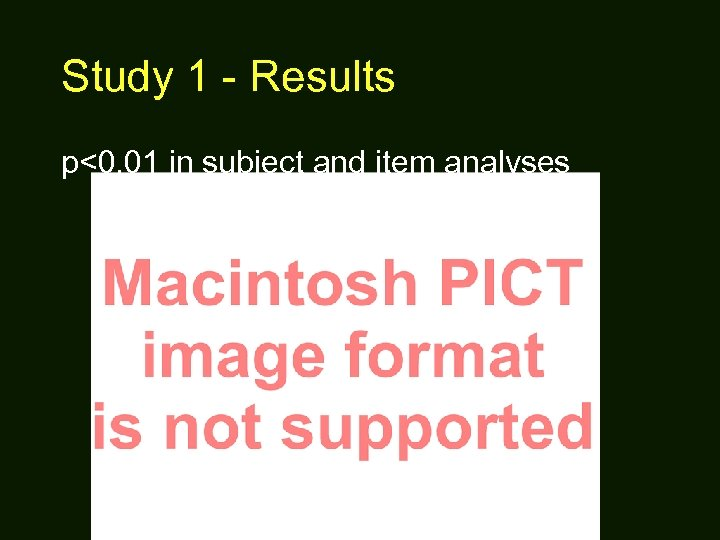 Study 1 - Results p<0. 01 in subject and item analyses