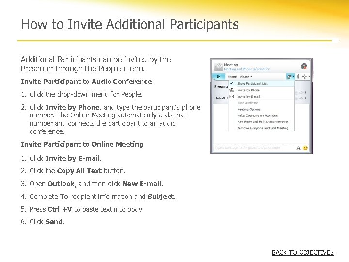 How to Invite Additional Participants can be invited by the Presenter through the People