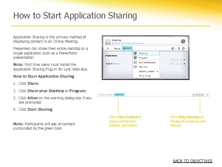 How to Start Application Sharing is the primary method of displaying content in an