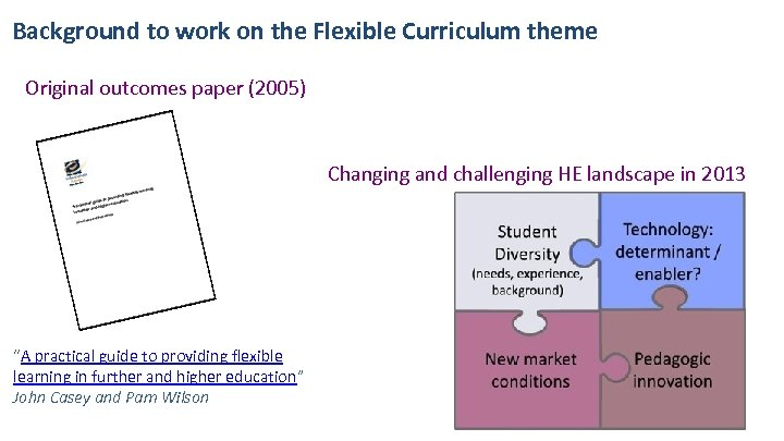 Background to work on the Flexible Curriculum theme Original outcomes paper (2005) Changing and
