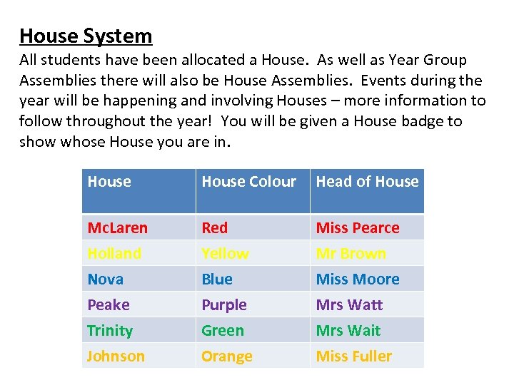 House System All students have been allocated a House. As well as Year Group