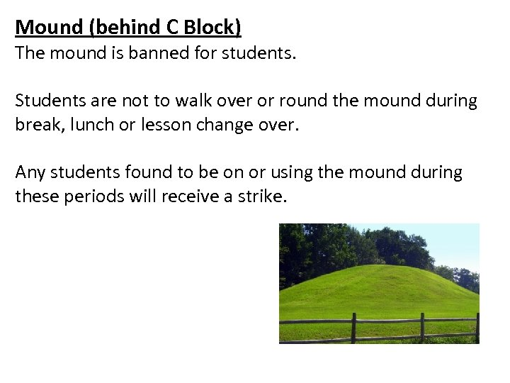 Mound (behind C Block) The mound is banned for students. Students are not to