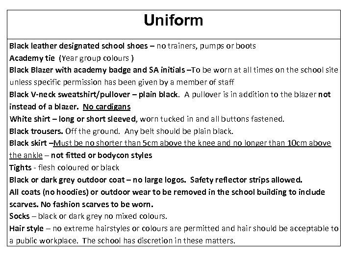 Uniform Black leather designated school shoes – no trainers, pumps or boots Academy tie