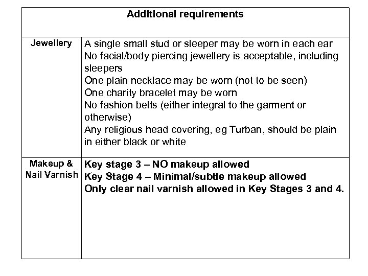Additional requirements Jewellery A single small stud or sleeper may be worn in each