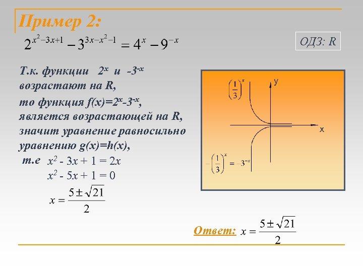 Пример 2: ОДЗ: R Т. к. функции 2 х и -3 -х возрастают на