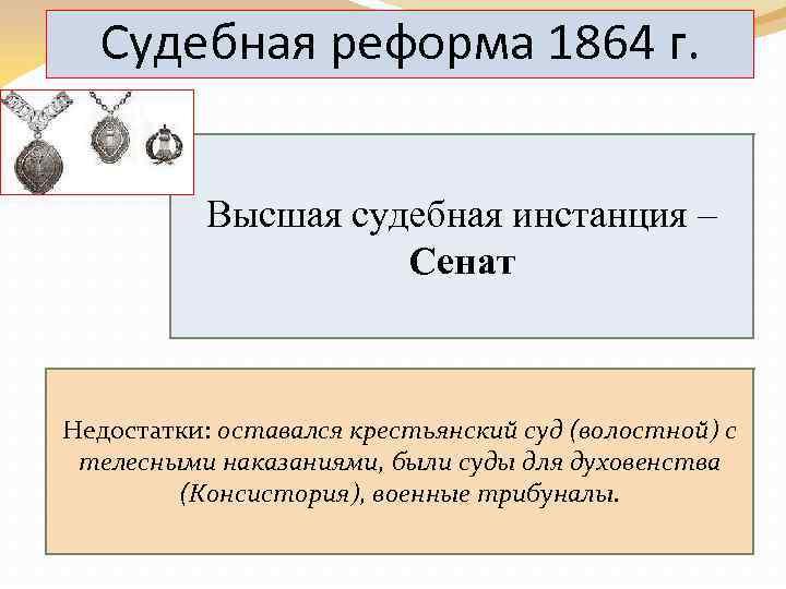Судебная реформа 1864 г. Высшая судебная инстанция – Сенат Недостатки: оставался крестьянский суд (волостной)