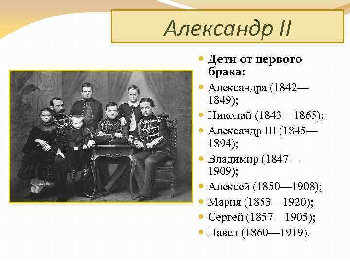 Александр II Дети от первого брака: Александра (1842— 1849); Николай (1843— 1865); Александр III