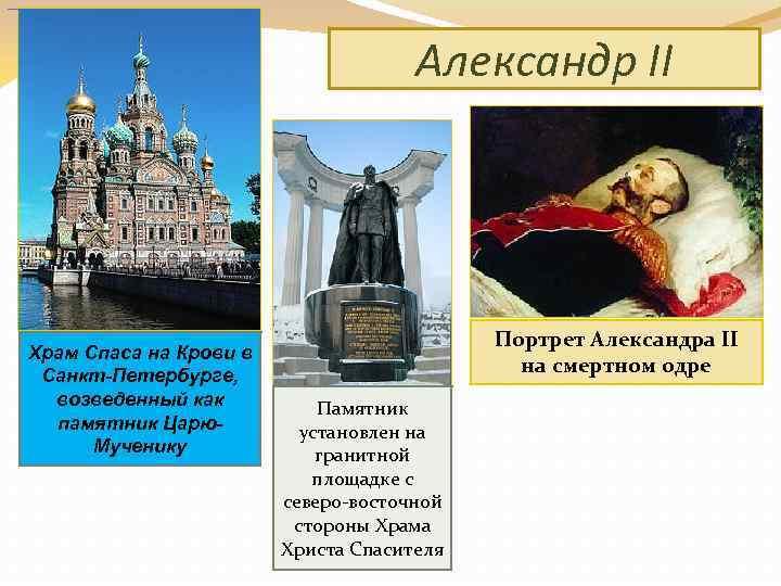 Александр II Храм Спаса на Крови в Санкт-Петербурге, возведенный как памятник Царю. Мученику