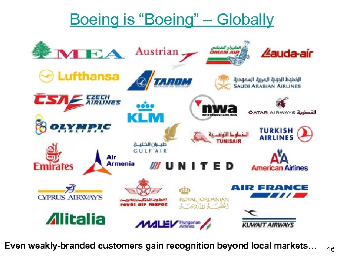"""Boeing is """"Boeing"""" – Globally Even weakly-branded customers gain recognition beyond local markets… 16"""