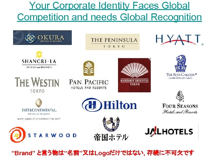 """Your Corporate Identity Faces Global Competition and needs Global Recognition """"Brand"""" と言う物は""""名前""""又はLogoだけではない, 存続に不可欠です"""