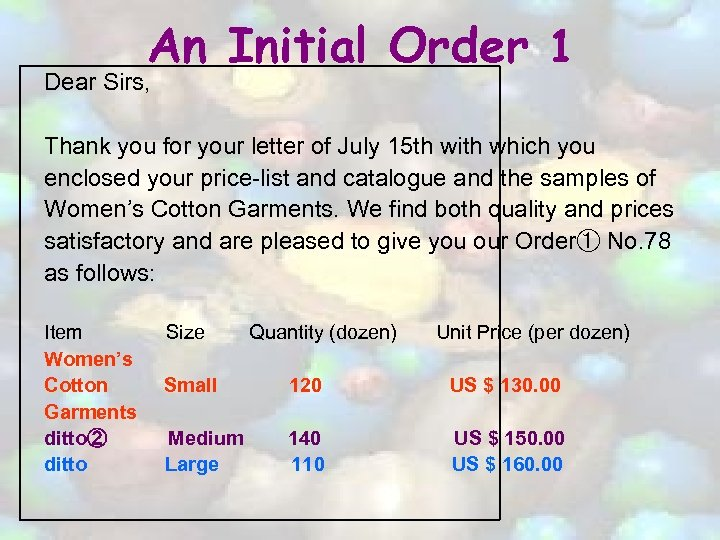 An Initial Order 1 Dear Sirs, Thank you for your letter of July 15