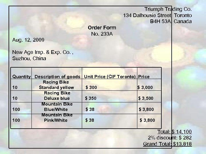 Triumph Trading Co. 134 Dalhousie Street, Toronto B 4 H 53 A, Canada Order