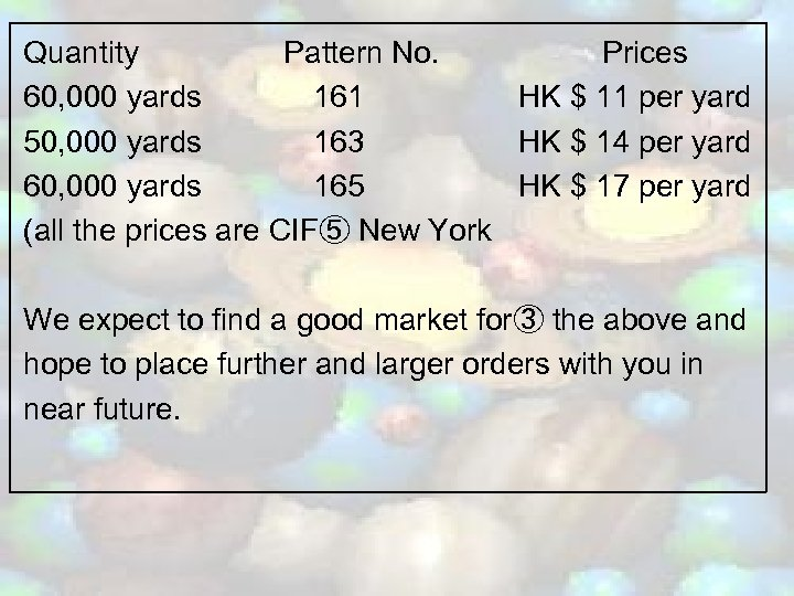 Quantity Pattern No. Prices 60, 000 yards 161 HK $ 11 per yard 50,