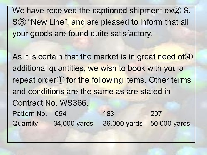 """We have received the captioned shipment ex② S. S③ """"New Line"""", and are pleased"""