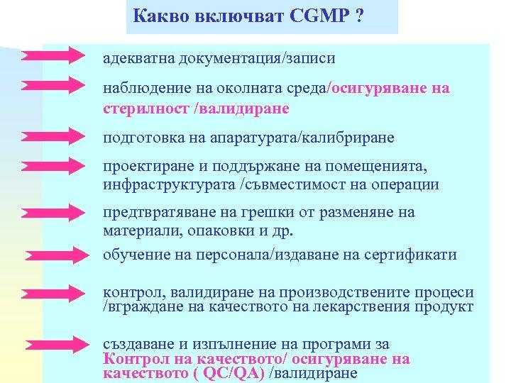 Какво включват CGMP ? адекватна документация/записи наблюдение на околната среда/осигуряване на стерилност /валидиране подготовка