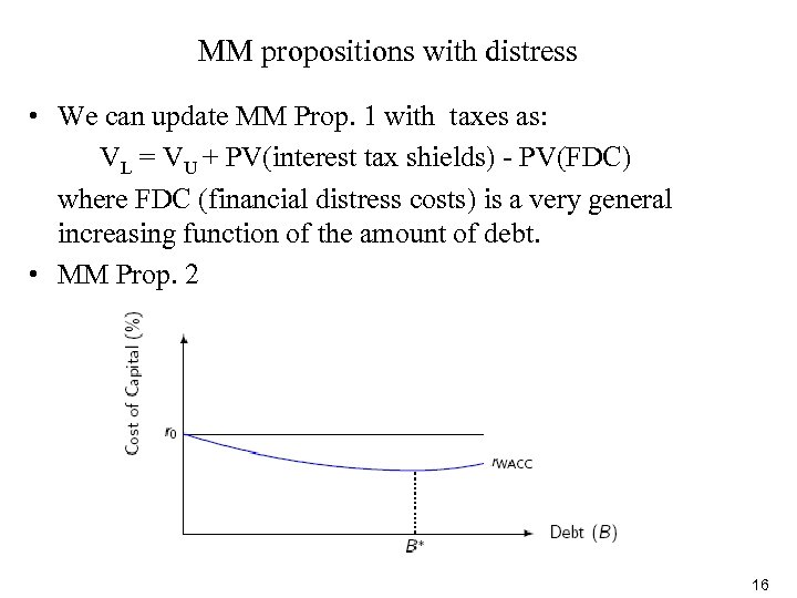 MM propositions with distress • We can update MM Prop. 1 with taxes as:
