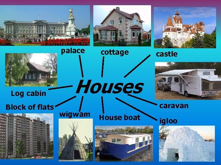 palace Log cabin Block of flats cottage castle Houses wigwam caravan House boat igloo