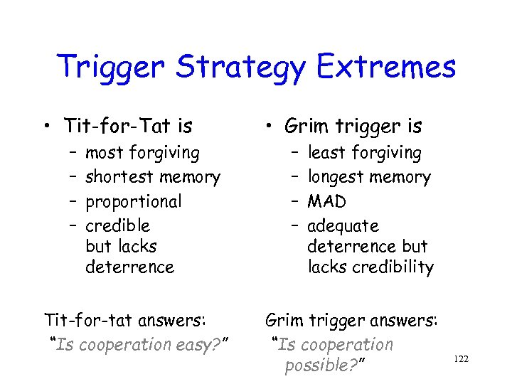 Trigger Strategy Extremes • Tit-for-Tat is – – most forgiving shortest memory proportional credible