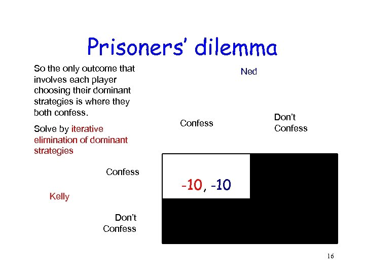 Prisoners' dilemma So the only outcome that involves each player choosing their dominant strategies