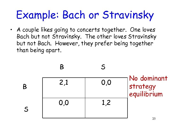 Example: Bach or Stravinsky • A couple likes going to concerts together. One loves