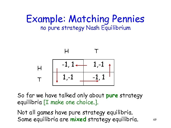 Example: Matching Pennies no pure strategy Nash Equilibrium H H T T -1, 1