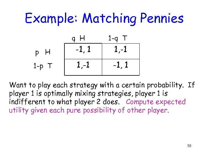 Example: Matching Pennies q H 1 -q T p H -1, 1 1, -1