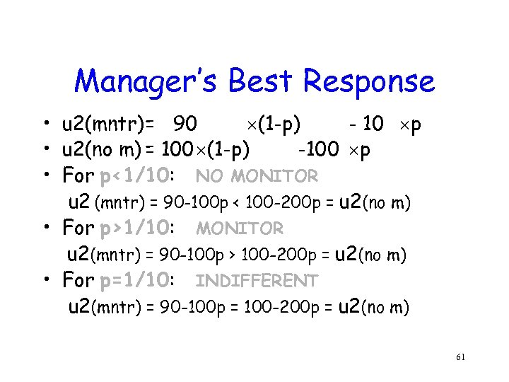 Manager's Best Response • u 2(mntr)= 90 (1 -p) - 10 p • u