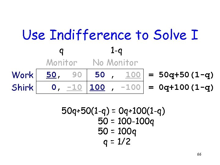 Use Indifference to Solve I Work Shirk q 1 -q Monitor No Monitor 50,