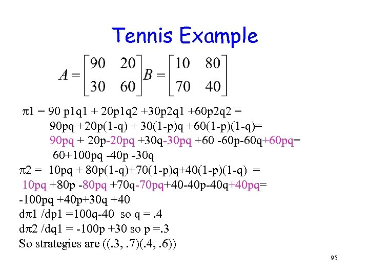 Tennis Example 1 = 90 p 1 q 1 + 20 p 1 q