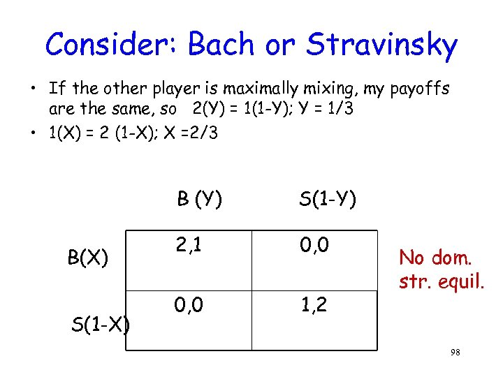 Consider: Bach or Stravinsky • If the other player is maximally mixing, my payoffs