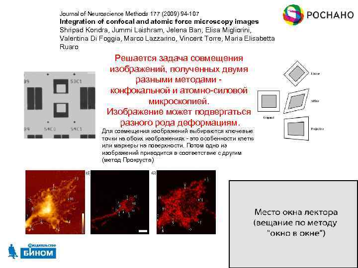 Journal of Neuroscience Methods 177 (2009) 94 -107 Integration of confocal and atomic force