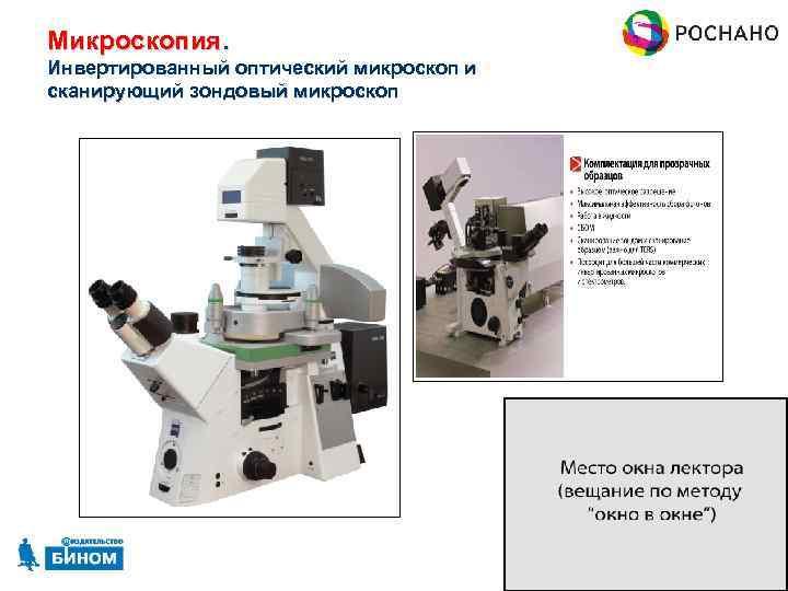 Микроскопия. Инвертированный оптический микроскоп и сканирующий зондовый микроскоп