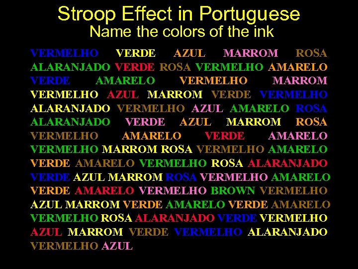 Stroop Effect in Portuguese Name the colors of the ink VERMELHO VERDE AZUL MARROM