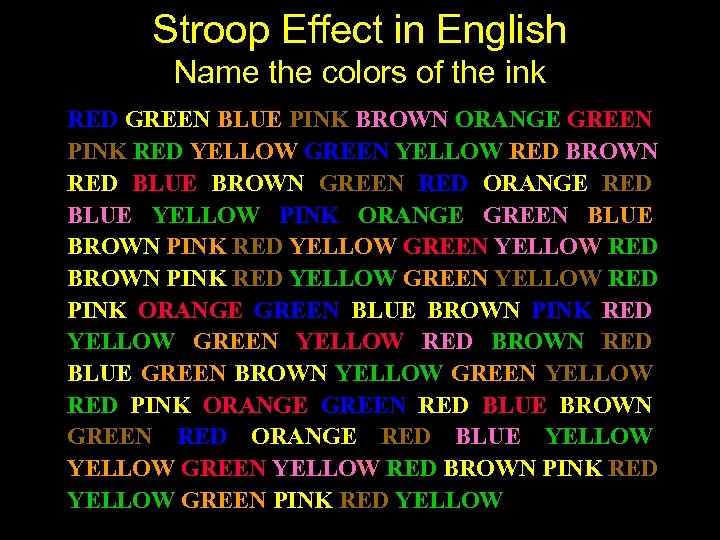Stroop Effect in English Name the colors of the ink RED GREEN BLUE PINK