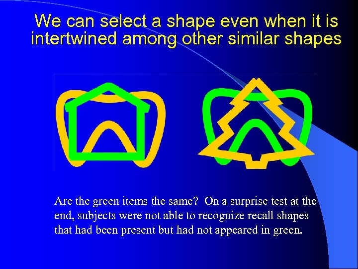 We can select a shape even when it is intertwined among other similar shapes