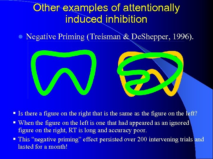 Other examples of attentionally induced inhibition l Negative Priming (Treisman & De. Shepper, 1996).