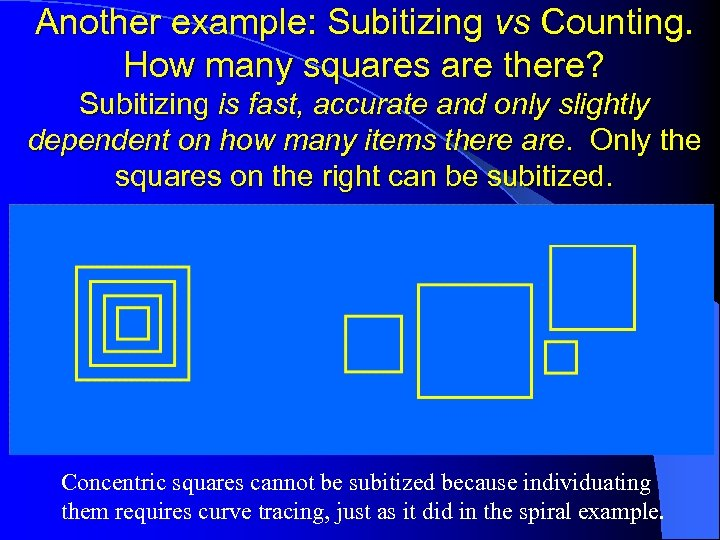 Another example: Subitizing vs Counting. How many squares are there? Subitizing is fast, accurate