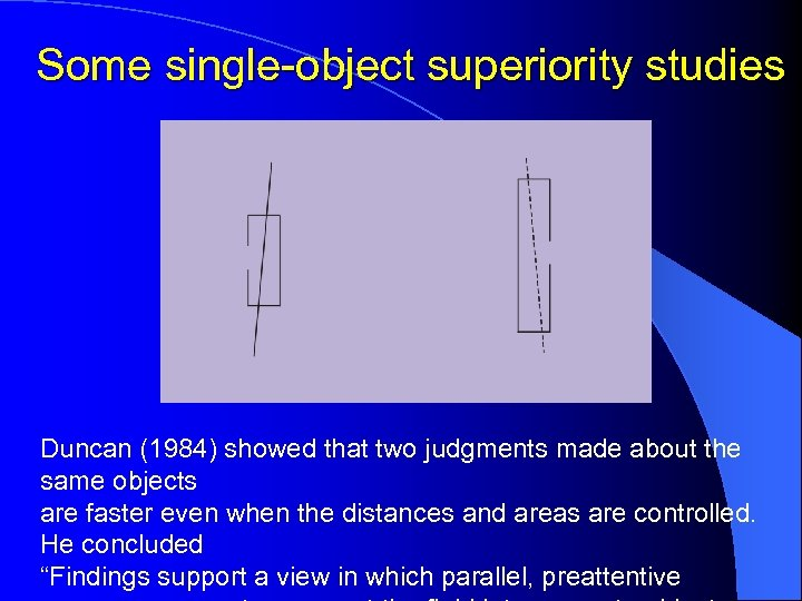 Some single-object superiority studies Duncan (1984) showed that two judgments made about the same