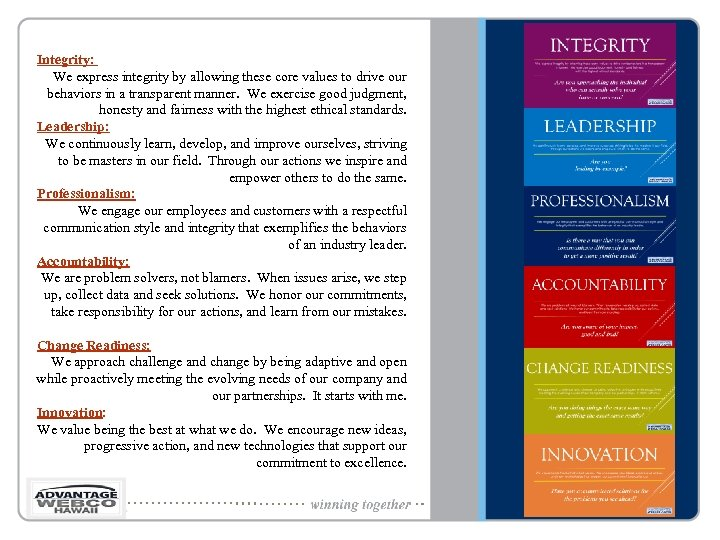 Integrity: We express integrity by allowing these core values to drive our behaviors in
