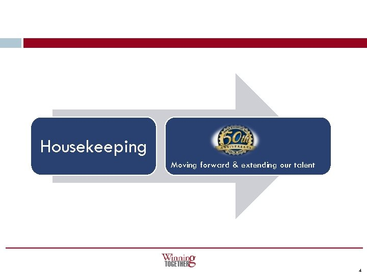 Housekeeping Moving forward & extending our talent 4