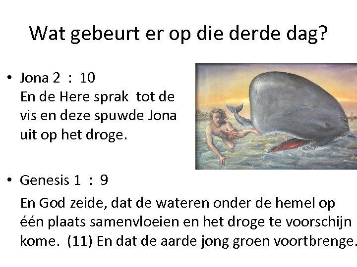 Wat gebeurt er op die derde dag? • Jona 2 : 10 En de