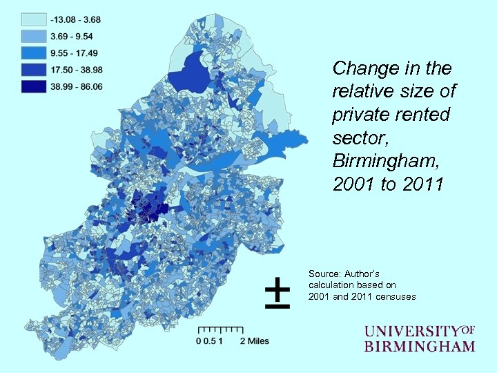 Change in the relative size of private rented sector, Birmingham, 2001 to 2011 Source: