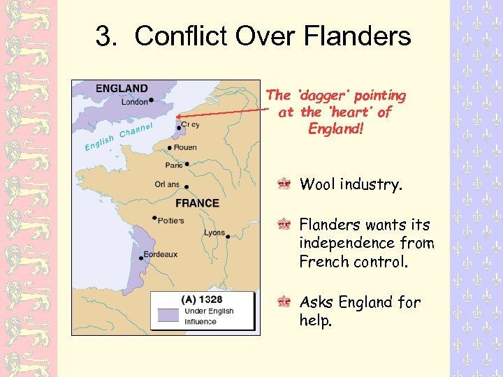 3. Conflict Over Flanders The 'dagger' pointing at the 'heart' of England! Wool industry.