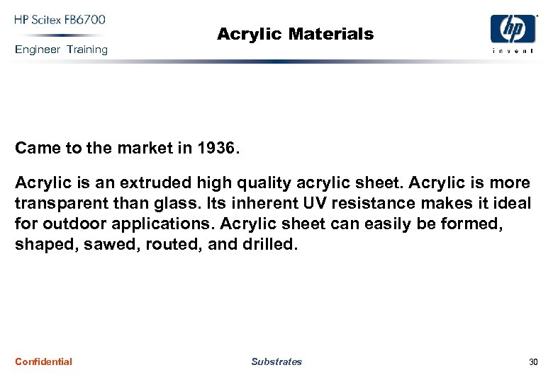 Engineer Training Acrylic Materials Came to the market in 1936. Acrylic is an extruded