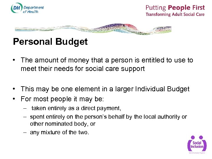 Personal Budget • The amount of money that a person is entitled to use