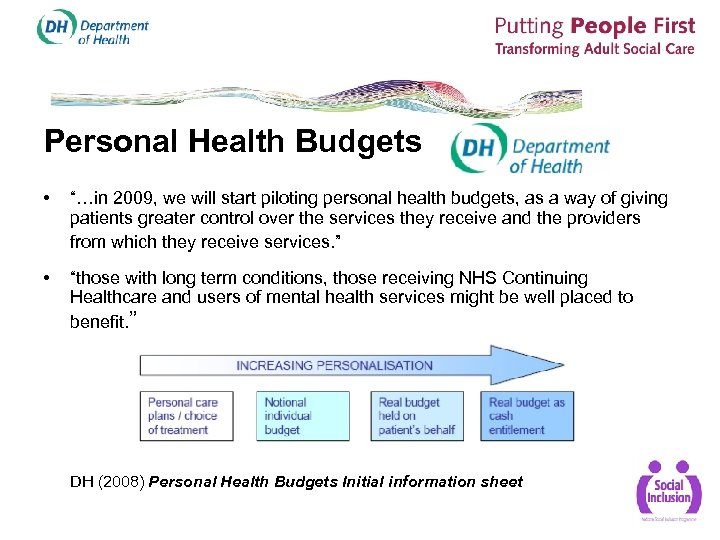 "Personal Health Budgets • ""…in 2009, we will start piloting personal health budgets, as"