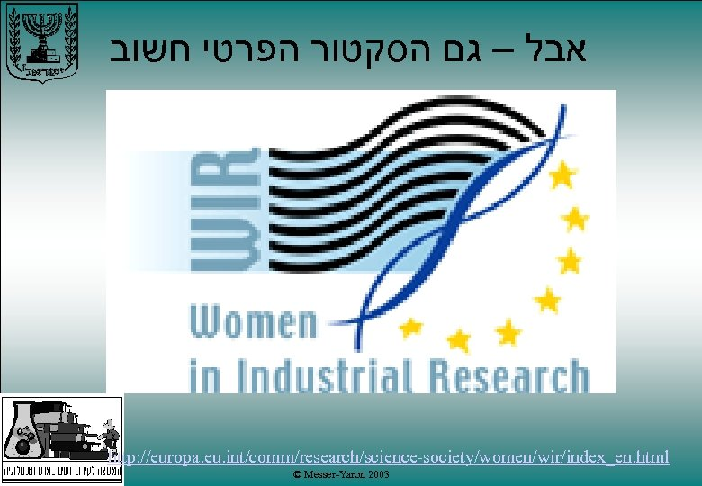 אבל – גם הסקטור הפרטי חשוב http: //europa. eu. int/comm/research/science-society/women/wir/index_en. html © Messer-Yaron