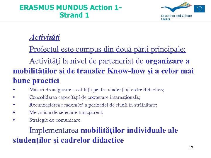 ERASMUS MUNDUS Action 1 Strand 1 Activităţi Proiectul este compus din două părţi principale: